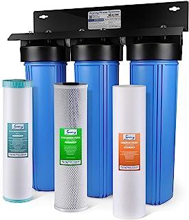 iSpring WGB32BM 3 级全屋净水系统带 50.8 厘米大蓝色沉淀物,碳块,铁和芒加减少过滤器 蓝色 WGB32BM