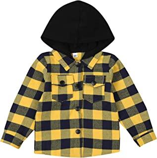 幼儿婴儿格子衬衫连帽经典连帽多色格子夹克中性款长袖秋冬春装