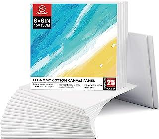 HappyHapi 帆布板 25 件装,15.24 x 15.24 厘米空白画布,适用于绘画,专业艺术家品质无酸帆布板,* 纯棉带再生纸板芯