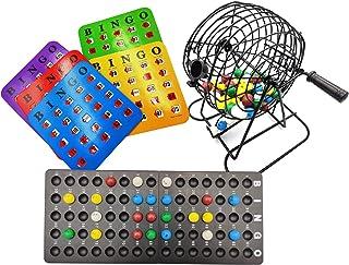 Yuanhe 豪华宾果游戏套装 - 15.24 厘米金属笼,带呼叫板,5 张快门滑动卡,75 个彩色球,适合大型团体游戏