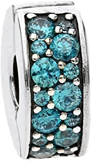 Pandora 潘多拉 丹麦品牌 亮青色闪烁优雅925银硅胶固定夹 791817MCZ