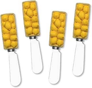 UPware 4 件套柠檬篮手绘树脂手柄不锈钢刀片奶酪抹刀/黄油抹刀