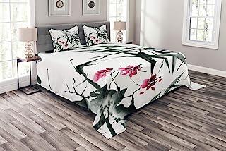 Ambesonne 日本床罩,天然竹茎樱花日本灵感民间印花,装饰绗缝 3 件套被套套装,带 2 个枕套,中号双人床尺寸,*紫红色
