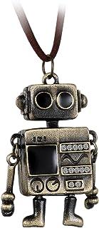 Flongo 男士女士复古合金青铜可爱色调墙壁.E 外星机器人吊坠项链,38.1-78.74 厘米链子,机器人魅力长款项链 时尚皮革绳子机器人珠宝礼品