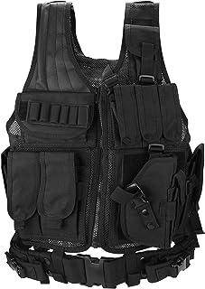 ProCase 战术背心莫尔男式女式青春背心,透气战术背心,带多个口袋 - 搏斗训练背心 - 黑色,600D 涤纶