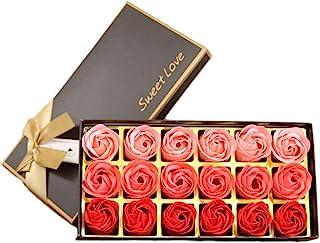 SUNTRADE 18 片花香型浴皂玫瑰花瓣,纪念日/生日/婚礼/情人节/母亲节礼物 红色