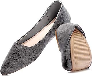 HEAWISH 女式黑色平底鞋舒适麂皮尖头一脚蹬休闲芭蕾平底鞋正装鞋裸色平底鞋