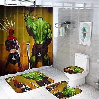 浴室装饰浴帘 4 件套带防滑地毯 + U 形轮廓垫 + 马桶盖罩,防水耐用浴帘带 12 个挂钩,用于罗马装饰