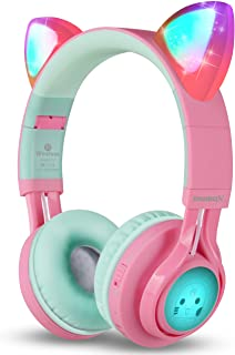 Riwbox CT-7 猫耳蓝牙耳机,LED 发光蓝牙无线头戴式耳机带麦克风和音量控制,适用于 iPhone/iPad/智能手机/笔记本电脑/PC/TV5823856028