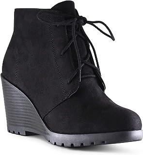 经济实惠的 FOOTWear 女式圆头坡跟系带军事战靴
