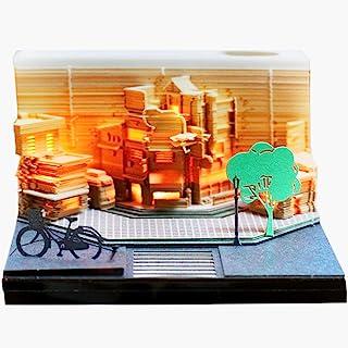 3D 备忘板带笔筒和分发器,趣味可爱纸雕艺术记事本 DIY 积木 3D 可爱便利贴 3D Omoshiroi 备忘录垫 适合儿童/爱人/朋友/妻子/学生。