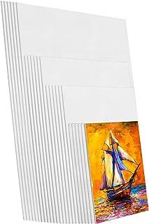 Elcoho 24 件装白色棉质帆布艺术家帆布板多面板帆布板创意空白绘画板绘画帆布包