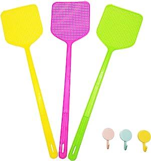 3 件多色手动飞钓刮片,17.5 英寸(约 44.5 厘米)手动强力警示灵活飞钓刮片,带长柄,重型飞钓刮片塑料,家庭和厨房帮手,带 3 个可爱挂钩