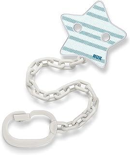 NUK 奶嘴链,带奶嘴夹,适用于带环安抚奶嘴 | 坚固防碎 | 蓝色带星星