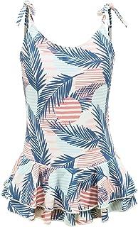 女孩连体泳衣夏威夷可调节肩带泳衣