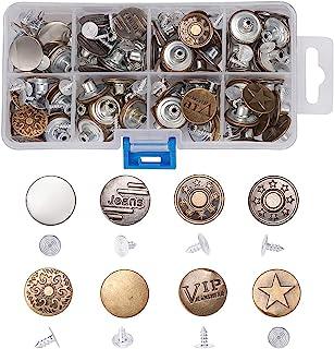 复古牛仔裤纽扣和铆钉,17 毫米金属固定按扣替换套件适用于牛仔裤修复(8 种款式和颜色)