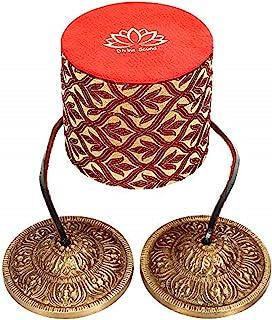 Divine Sound Tingsha 钹 -圣佛莲花符号雕刻精美礼品盒,适合冥想、祈祷、瑜伽、声音*,7 厘米/ 2.5 厘米尼泊尔叮当带泡沫带黄铜