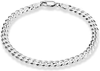 MiaBella 925 纯银意大利 5mm 实心钻石切割古巴链 锁链 男士女式 17.78 cm、20.32 cm、22.86 cm