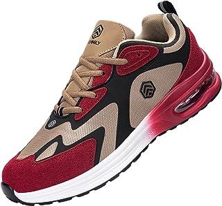 FENLERN 男士钢头鞋 轻质*运动鞋 舒适气垫网球鞋 透气耐穿工作鞋
