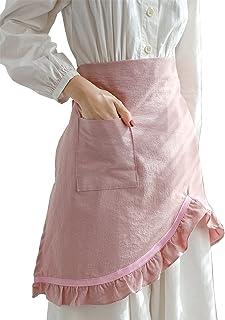 女式厨师围裙复古棉质粉蕾丝花短款腰服务员烘焙花园半围裙