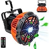 露营风扇带 LED 灯 – 便携式野营灯笼风扇带挂钩,适用于帐篷,可充电 5200mAh 电池驱动,USB 充电输入风扇…