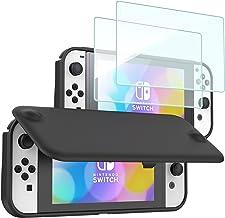 ProCase Nintendo Switch OLED 翻盖保护套,带2件装钢化玻璃屏幕保护膜,超薄保护翻盖保护套,带磁性可拆卸前盖,适用于 Nintendo Switch OLED 型号 2021 - 黑色