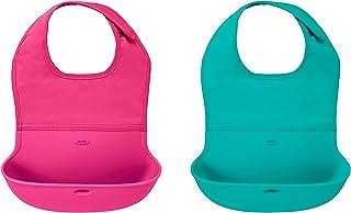 OXO Tot 两件套防水硅胶卷式安抚围嘴 颈部合体面料 粉红色/蓝绿色
