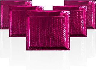Amiff 泡泡信封 7.25 x 7 加垫信封 7 1/4 x 7.25 每包 25 个桃红色靠垫信封。 外部尺寸 8.25 x 11.5 (8 1/4 x 11 1/2)。