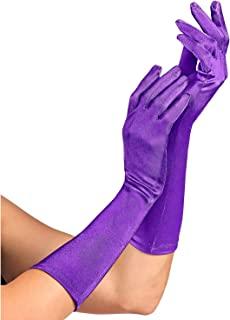 Widmann 14414 - 紫色缎面手套,含氨纶成分,1 对,长度 40 厘米,配饰,20 年代,主题派对,嘉年华