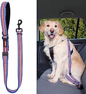 Didog 狗狗*座椅腰带,狗狗汽车*带 / 带手柄的牵引带,适用于汽车旅行散步,可调节狗绳,适合小型中型大型犬,蓝色
