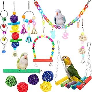 12 件鸟玩具,适用于鹦鹉、鸟秋千玩具、挂铃鸟笼带铃铛芬奇玩具、鹦鹉彩色咀嚼玩具,适用于金刚鹦鹉、鹦鹉、非洲灰色鹦鹉和其他小鸟