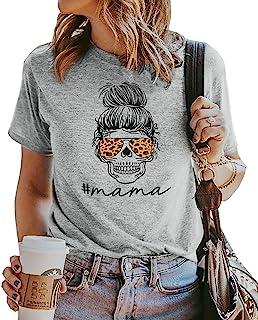 Mama Shirts 女式趣味妈妈运动衫豹纹骷髅图案 T 恤休闲长袖套头上衣