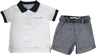 罗森 海洋风格 POLO衫&裤子套装 白色×山胡桃条纹藏青色 白色 ヨーロッパサイズ9M 71cm(日本サイズ9ヶ月)