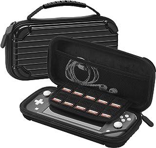 TNP 旅行手提箱适用于 Nintendo Switch Lite 行李硬壳PC材料便携式旅行豪华保护套带控制台带手柄,8 个游戏插槽卡夹,网眼配件袋(黑色)