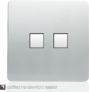 Trendi 艺术现代光泽触觉电话插座 + RJ45 Cat 5e & Cat 6 PC 插座银色