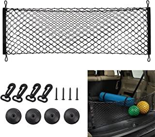 43.3X 19.7 英寸可调节后货网收纳架,通用后备箱网收纳架,适用于汽车、SUV、大号卡车,带挂钩的伸缩储物网