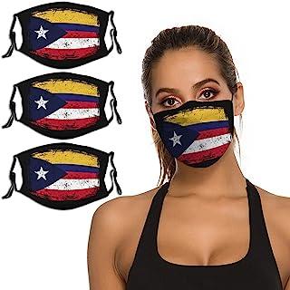 B&MAVIS 哥伦比亚波多黎各国旗 3 件套面罩可水洗可重复使用头巾围巾可调节肩带和鼻夹中性款