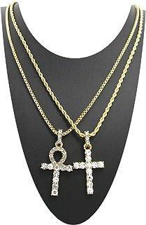 Shiny Jewelers USA 男士 ICED OUT EGYPTIAN ANKH CROSS(生命之钥匙)盒链项链套装 HIP HOP