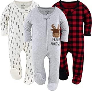 The Peanutshell 男孩或女孩连脚婴儿睡衣 水牛格子和林地,3 件套