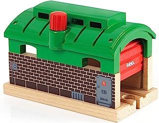 BRIO World 33574 – 火车车库 – 1件木制玩具火车配件,适合 3 岁及以上儿童