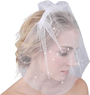 JoyDwell 新娘短款婚礼头饰面纱鸟笼脸迷人优雅美丽珍珠薄纱发梳白色腮红面纱