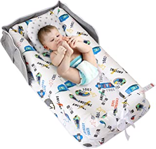 Abreeze 婴儿摇篮婴儿躺椅婴儿巢共眠婴儿床婴儿巢 - * 纯棉便携式婴儿床,适用于卧室/旅行(0-24 个月)(滑板)