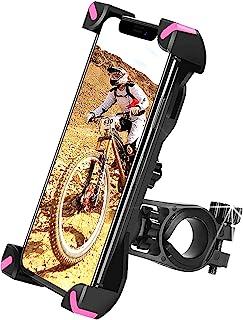 自行车手机支架 360° 旋转,通用摩托车车把安装自行车手机支架兼容 iPhone 12,12 Pro Max,S9,S10 等 3.5-6.8 英寸手机(粉色)