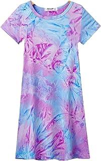 Jorssar 女孩泳衣罩衫 夏季沙滩泳装罩衫 T 恤连衣裙尺码 5-12 岁 D 扎染 12