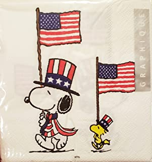 花生史努比和伍德斯托克带美国国旗,40 件,5x5 英寸,3 层新奇爱国美国国旗,红色,白色和蓝色纸饮料鸡尾酒餐巾