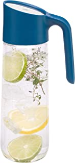 WMF 福腾宝 Nuro 玻璃水瓶 1L 带手柄 高度29.7厘米 CloseUp闭锁瓶盖,蓝色