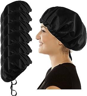 厨师帽发网厨房烹饪帽适用于食品服务网眼厨师帽中性可调节工作透气无檐*帽(6 或 10 件)