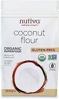 Nutiva Organic 未精制无麸质椰子粉,1磅,454克   USDA Organic & Non-GMO   纯素食和无麸质   高纤维和非谷物面粉的替代品,可用于烹饪和烘烤