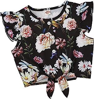 WINZIK 幼儿儿童女婴夏季休闲衬衫花卉印花飞袖纽扣T恤背心1-7岁