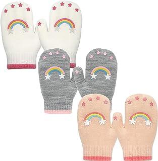 EvridWear 婴儿保暖弹力针织手套,幼儿普通柔软防刮擦儿童冬季手套(3 双装)